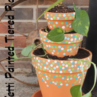 Learn how to make your own tiered planter with a confetti pattern. A fun way to plant this season.