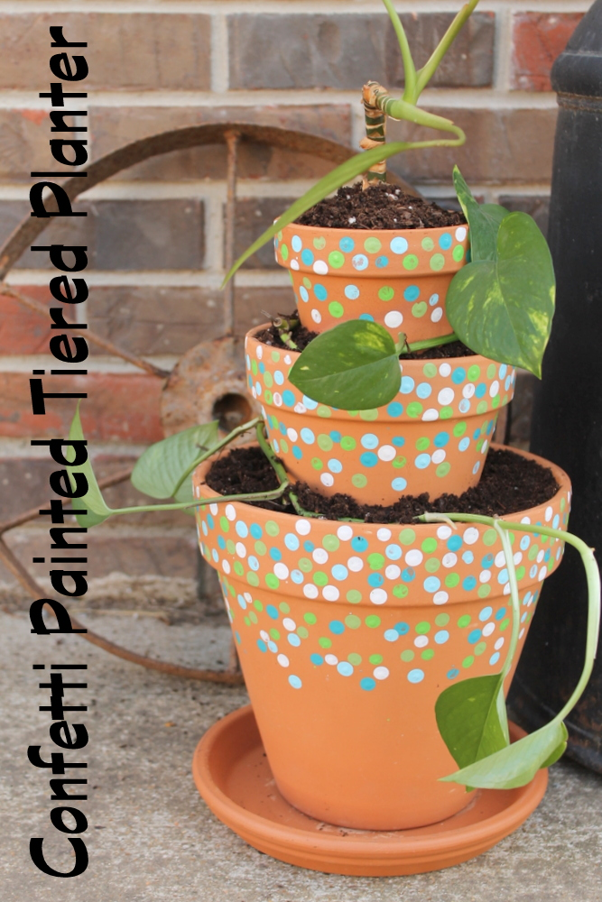 confetti painted tiered planter