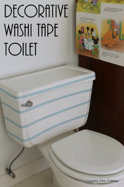 Decorative Washi Tape Toilet -- add some fun to your toilet in just a few minutes! #aprilfools