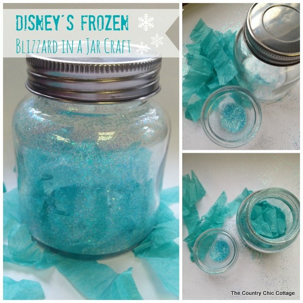 Blizzard in a jar craft inspired by Disney's Frozen. Make your own Disney's Frozen craft with these super simple instructions.
