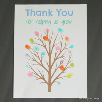 fingerprint tree teacher gift -- print this tree and add the fingerprints of the classroom for a great end of the year gift for any teacher.