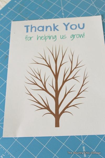 Classroom Fingerprint tree teacher gift