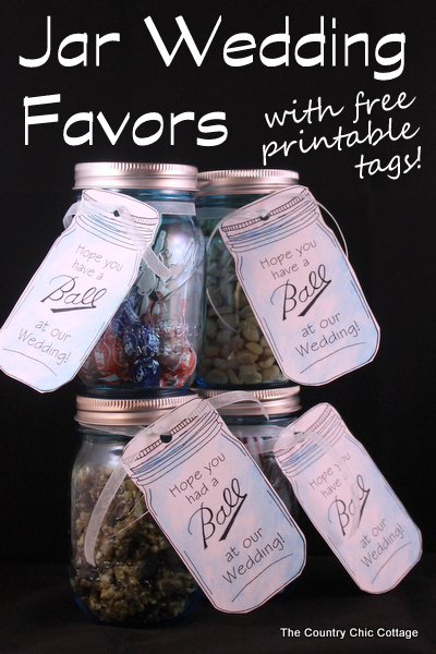 Mason Jar Wedding Favors with Free Printable Tags - The Country Chic ...