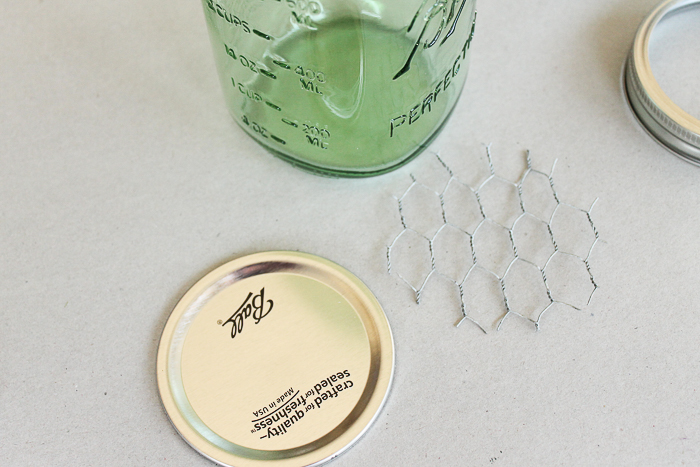 Cutting chicken wire to fit the top of a mason jar lid