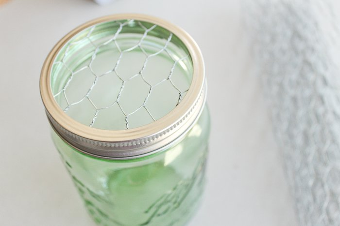 Chicken wire in a wide mouth mason jar lid