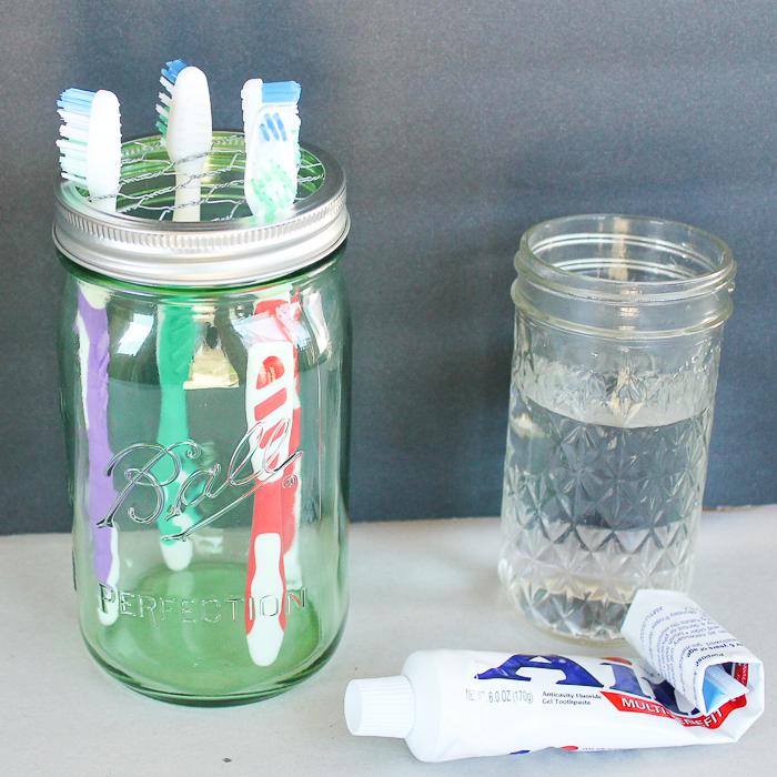 How to make a mason jar toothbrush holder