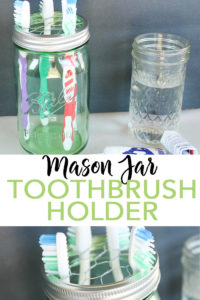 Make a mason jar toothbrush holder in minutes with these easy to follow instructions! An easy DIY project that will look great in your farmhouse style bathroom! #masonjar #farmhousestyle