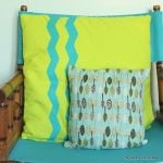 Chevron Stripe Pillow -- use special shaped tape to make chevron stripes on a fun pillow cover.