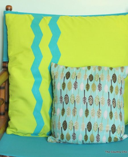 Chevron Stripe Pillow -- use special shaped tape to make chevron stripes on a fun pillow cover.