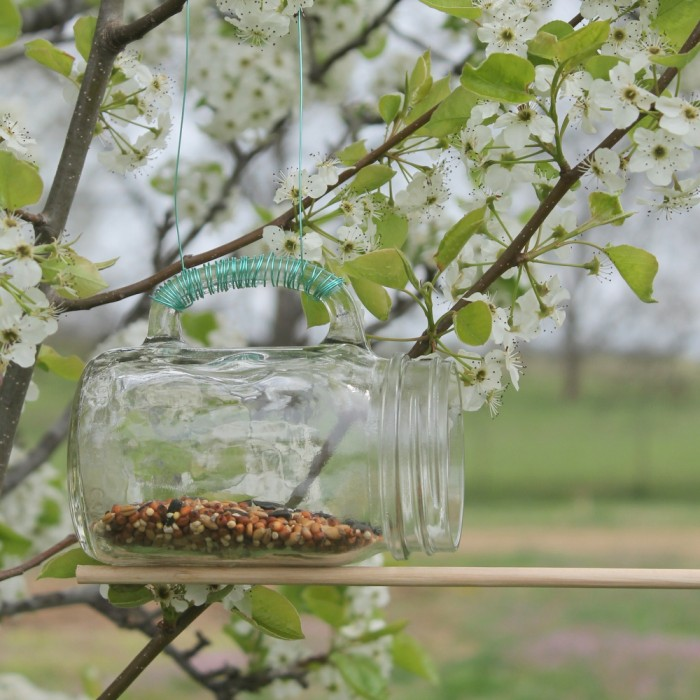 Mason Jar Bird Feeder Take A Mason Jar Glass And Make A