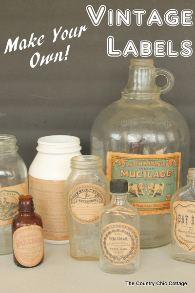 Make Your Own Vintage Labels -- fun printable vintage themed labels that you can then distress to look just like the originals.