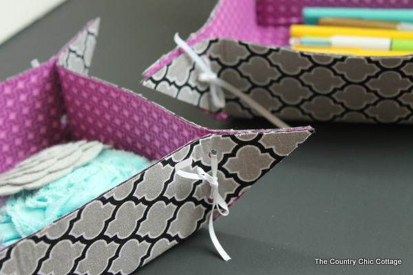 10 Minute Fabric Storage Tray -- a quick and easy way to make fun storage trays. Watch a video on how to make by clicking over to this post.