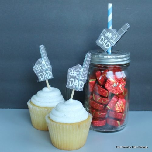 Two cupcakes and jar for kids craft Father's Day gift