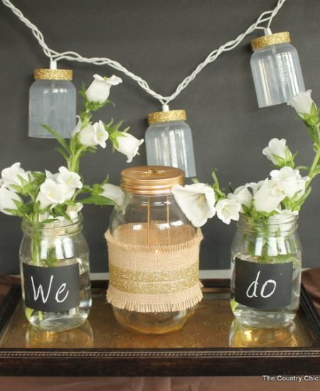 Rustic Glam Wedding Decor -- take items from the dollar store and turn them into amazing wedding decor! #dollargeneral