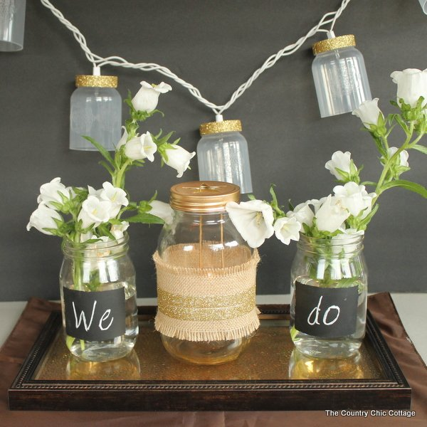Country Wedding Centerpieces Ideas: Rustic Glam Wedding Decor #dollargeneral