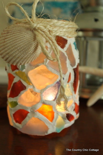 mason jar with sea glass and sea shell