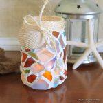Sea Glass Mason Jar -- a fun way to use your sea glass collection. Make this mason jar candle holder easily!