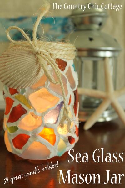 sea glass mason jar pinnable image