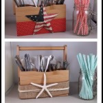 Summer Utensil Caddy 3 Ways -- 3 ways to decorate a utensil carrier for your summer parties.