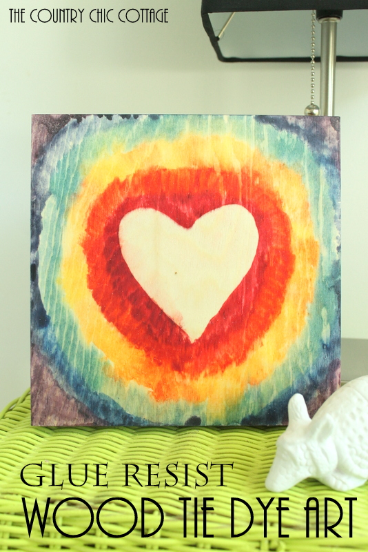 Wood Tie Dye Art -- use glue to create patterns on wood before adding RIT dye for an awesome effect!