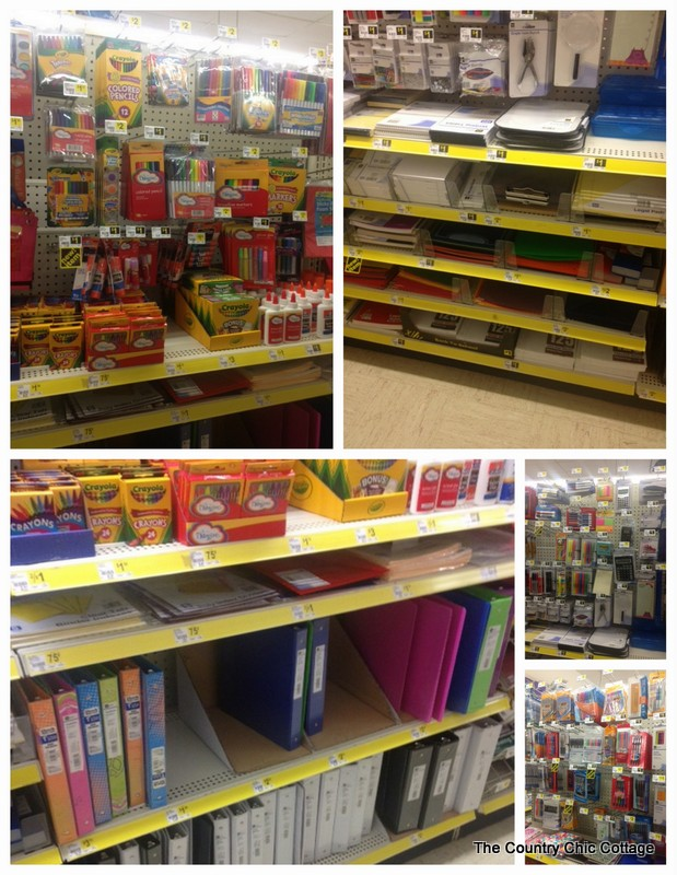 front view of school supplies in Dollar General