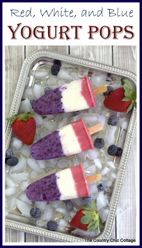 Red, White, and Blue Yogurt Pops -- a fun and healthy way to stay cool this summer. Click to get the recipe.