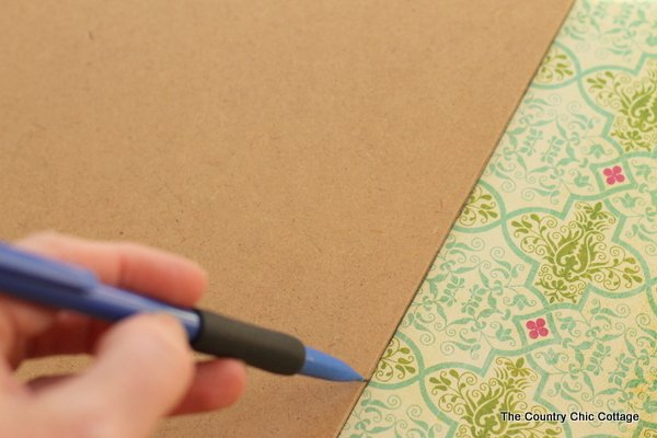 trace a clipboard on your patterned paper