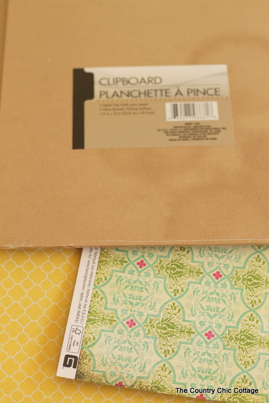 clipboard and patterned paper