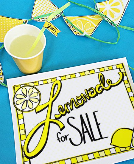 Printable Lemonade Stand Kit designed by Jen Goode