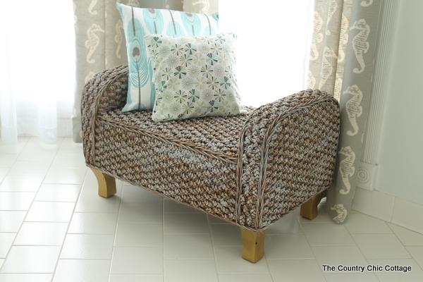 Wicker Bench in bedroom