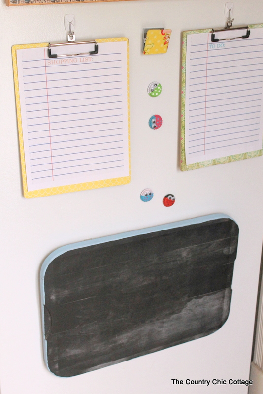 DIY family command center on refrigerator