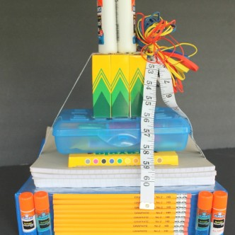 School Supplies Tower Teacher Gift -- make this fun gift for back to school. Every teacher needs school supplies!