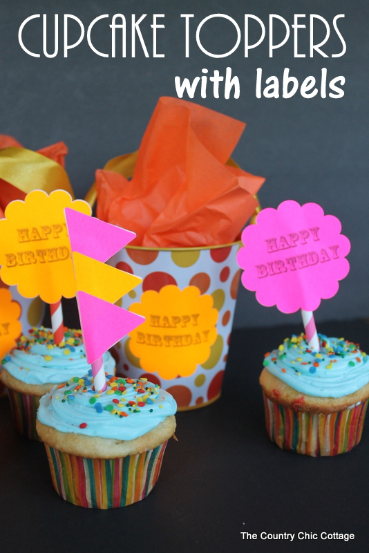 Cupcake Toppers with Labels -- two different ways to make cupcake toppers with labels plus ways to use those labels in other elements of your party!