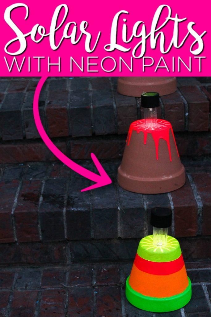 Make these DIY solar lights for your porch or patio this summer. The neon paint helps them to really light up the night plus they are easy enough for kids to make! #solarlights #outdoors #patio #porch #summer