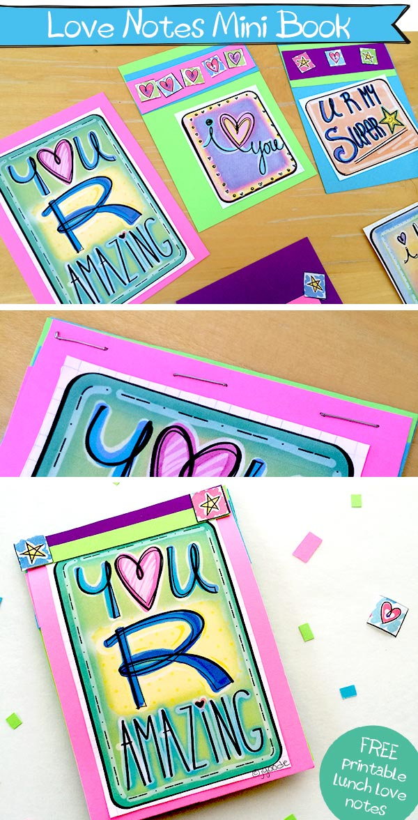 Make a mini book with free printable lunch love notes by Jen Goode