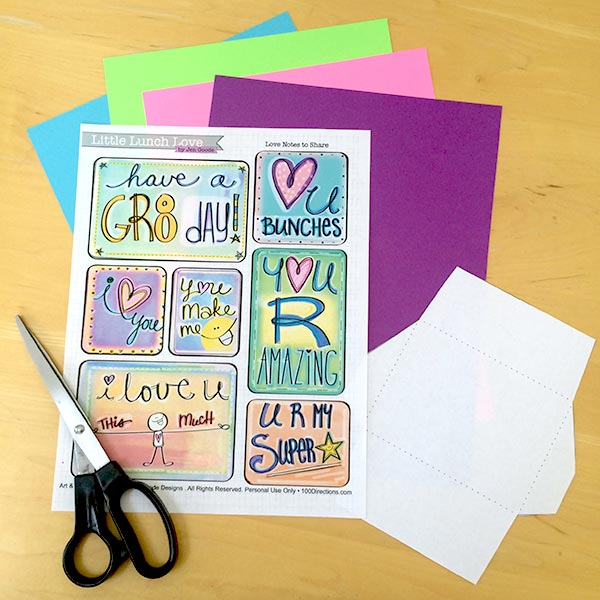 Printable love notes and your own colored cardstock