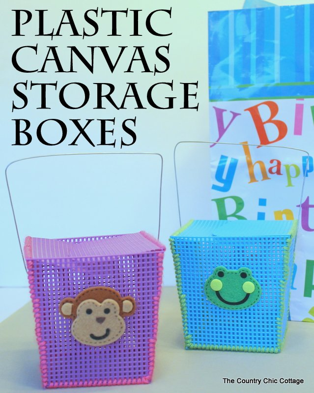 Plastic Canvas Storage Boxes -- a great craft for kids at summer camp or anytime of the year.  Helps to teach basic sewing skills as well.