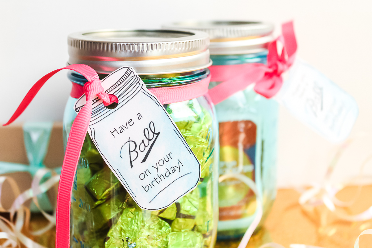 tags for a gift in a jar