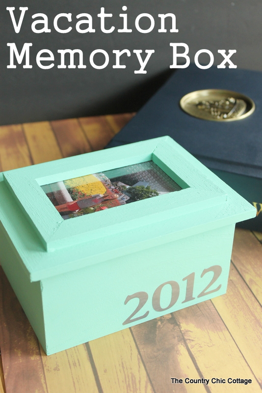 Vacation Memory Box --- fill this box with vacation mementos, add the date on the front, and a picture on top.  Your vacation memories can be displayed in any room in your home.