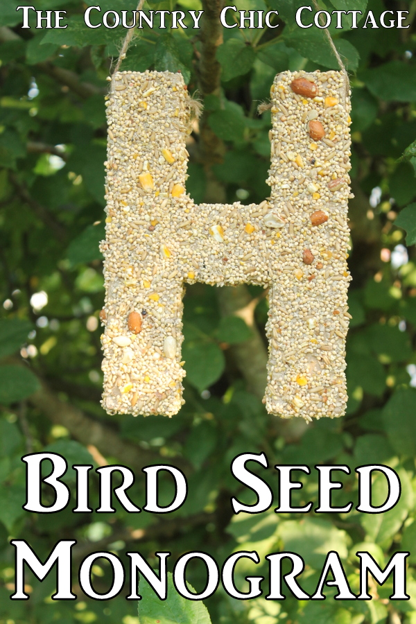 Bird Seed Monogram -- a fun craft project that the kids will love.  Make this bird feeder together then watch the birds!