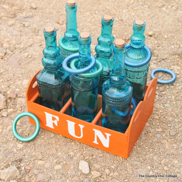 Make your own ring toss game -- a fun outdoor game that you can make for your kids.