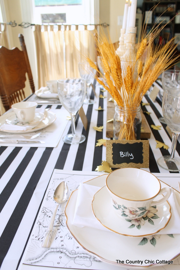 Fall Tablescape Ideas -- Great ideas from bloggers using awning stripe tablecloths.