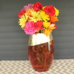 Gold Leaf Vase for Fall -- paint and add gold leaf to a vase for a fall look!
