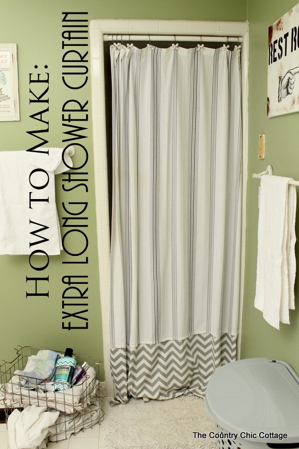 How to Make an Extra Long Shower Curtain -- add length to your shower curtain