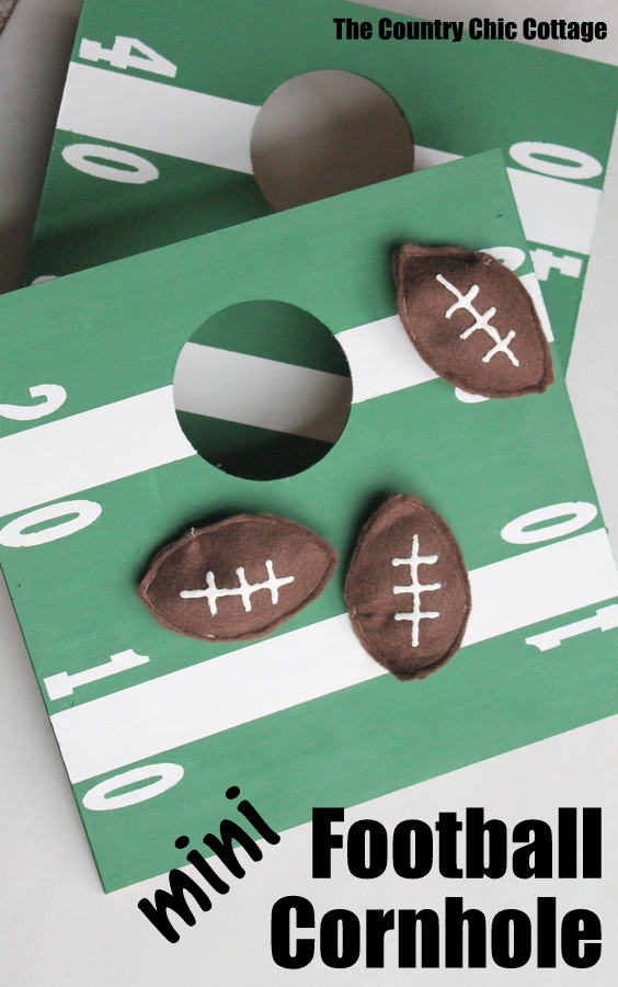 Mini Football Cornhole Game -- a fun mini size version of the original.  Perfect for kids or indoors!  Click here to see how to make your own.