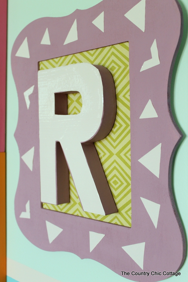 Monogram Wall Art for less than $10 -- make your own with this simple video tutorial.
