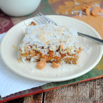 Pumpkin Magic Bars Recipe -- pumpkin with butterscotch and more! Super easy recipe!