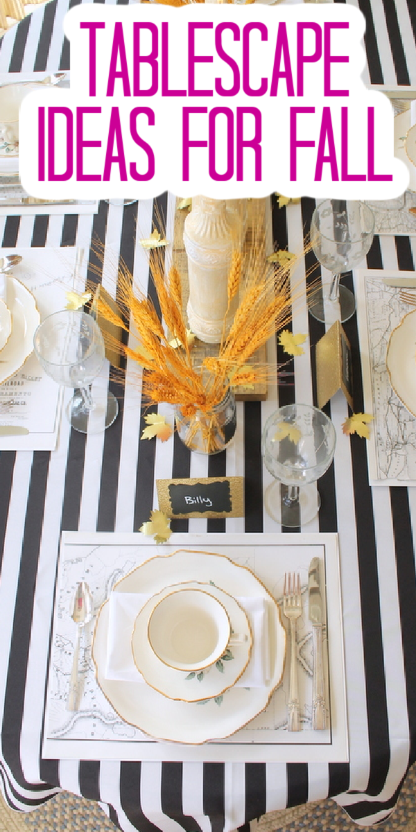 Use these fall tablescape ideas for your fall dinner party or Thanksgiving dinner! These ideas will really wow your holiday guests this year! #fall #falltable #thanksgiving #thanksgivingtable