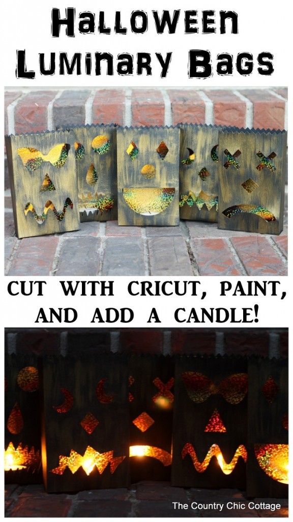 Halloween Luminary Bags with the Cricut Explore -- cut these fun bags, paint, and add a candle. These amazing black and gold bag with light up the night at your Halloween party!