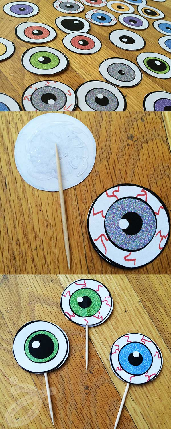 How to make eyeball cupcake toppers and free printable art by Jen Goode